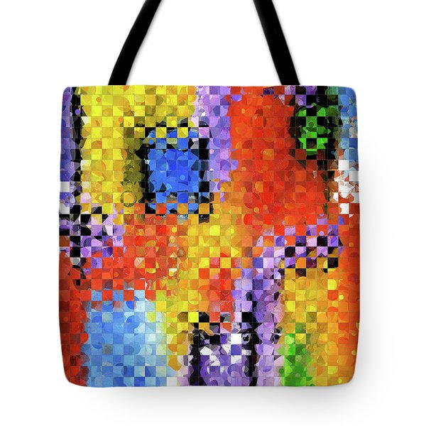 Tote Bag featuring the painting Colorful Modern Art - Pieces 11 - Sharon Cummings by Sharon Cummings