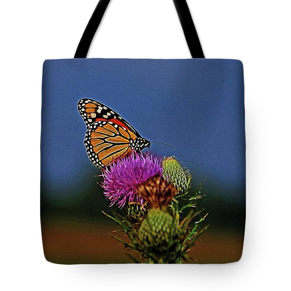 Tote Bag featuring the photograph Colorful Monarch by Sandy Keeton