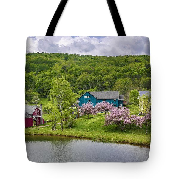 Tote Bag featuring the photograph Colorful Mountain Homes by Paula Porterfield-Izzo