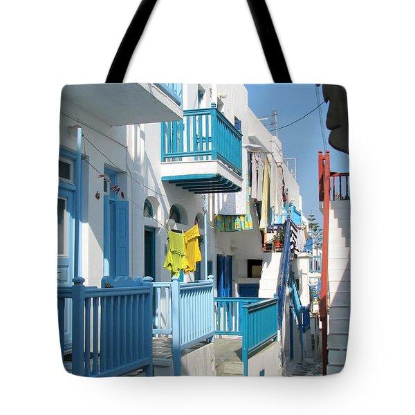 Colorful Mykonos Tote Bag by Carla Parris