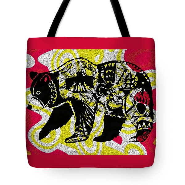 Colorful Native Black Bear Tote Bag