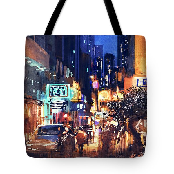 Colorful Night Street Tote Bag