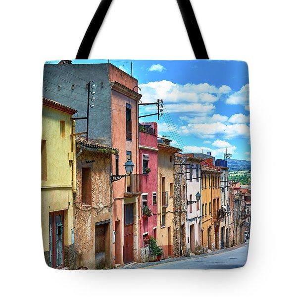 Colorful Old Houses In Tarragona Tote Bag