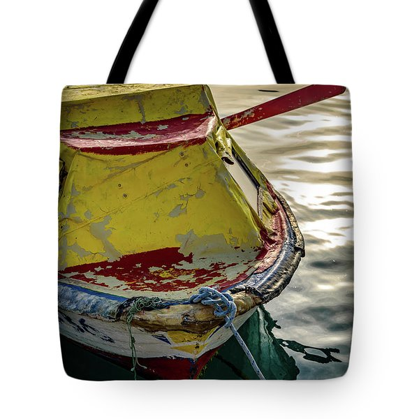 Colorful Old Red And Yellow Boat During Golden Hour In Croatia Tote Bag