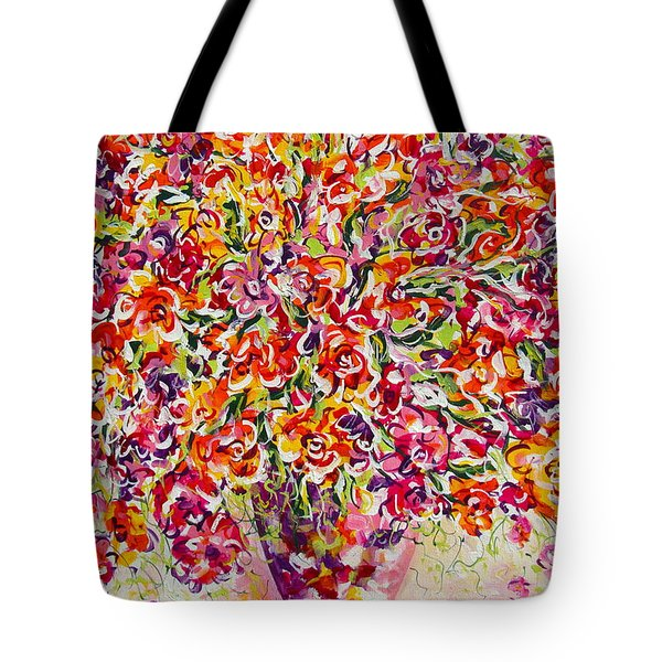 Tote Bag featuring the painting Colorful Organza by Natalie Holland