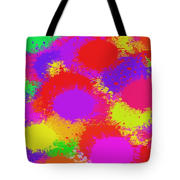Tote Bag featuring the digital art Colorful Paint Splash Abstract Pop Art by Shelli Fitzpatrick