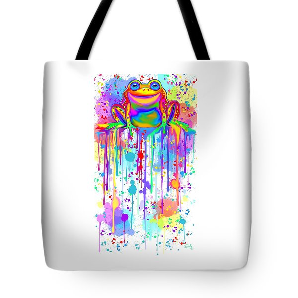 Tote Bag featuring the painting Colorful Painted Frog  by Nick Gustafson