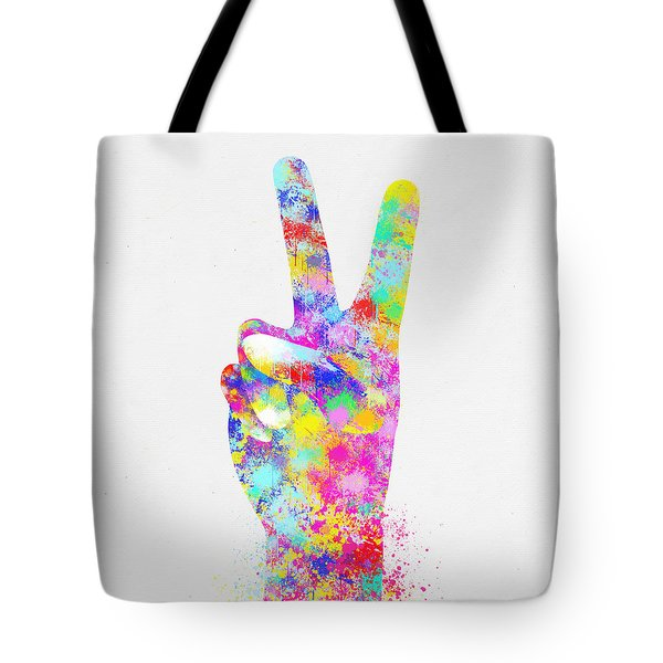 Colorful Painting Of Hand Point Two Finger Tote Bag by Setsiri Silapasuwanchai
