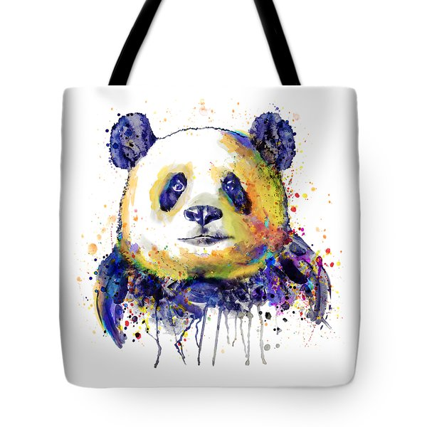 Tote Bag featuring the mixed media Colorful Panda Head by Marian Voicu