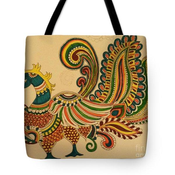 Colorful Peacock Tote Bag