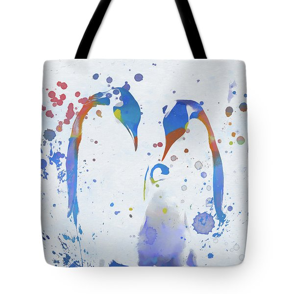 Tote Bag featuring the painting Colorful Penguin Family by Dan Sproul