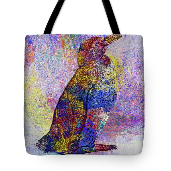 Colorful Penguin Tote Bag by Jack Zulli