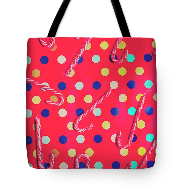 Colorful Pepermint Candy Canes Tote Bag