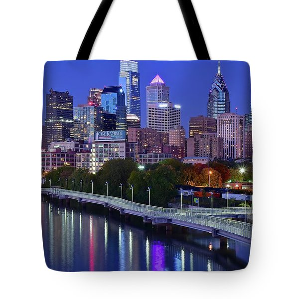 Tote Bag featuring the photograph Colorful Philly Night Lights by Frozen in Time Fine Art Photography