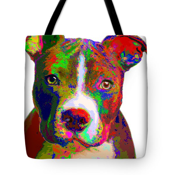 Colorful Pit Bull Terrier  Tote Bag