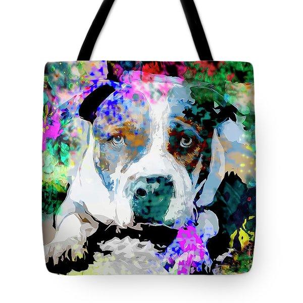 Colorful Pitbull Tote Bag
