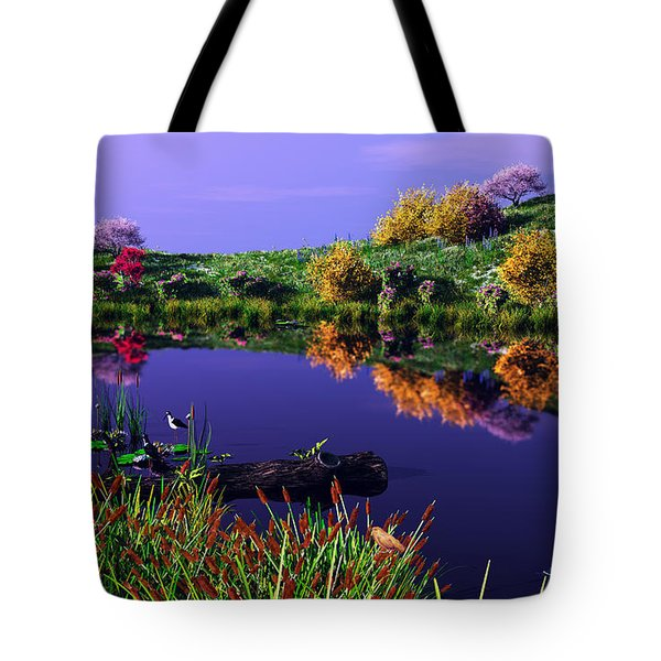 Colorful Pond Tote Bag by Walter Colvin