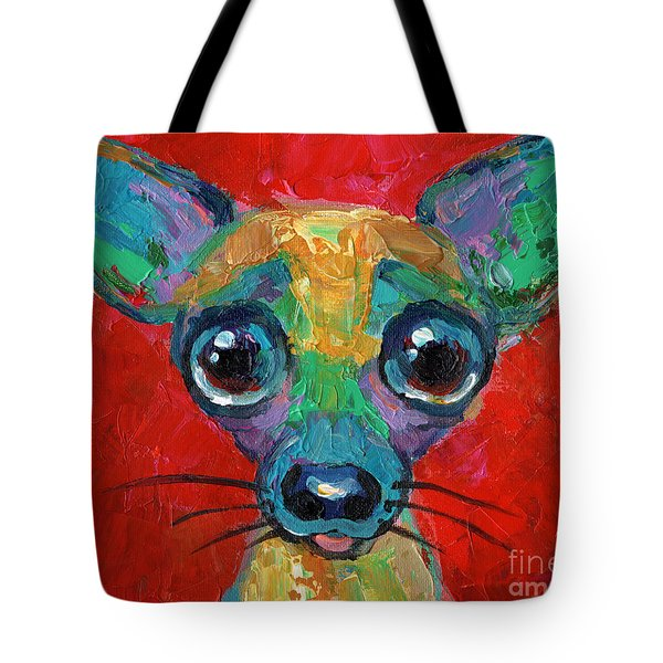 Colorful Pop Art Chihuahua Painting Tote Bag
