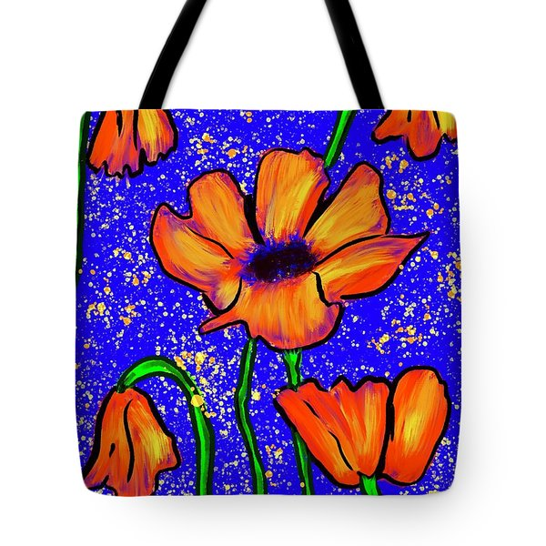 Colorful Flower- Poppies Tote Bag