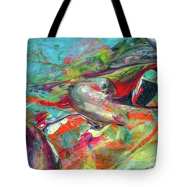 Colorful Puffin Bird Art - Happy Abstract Animal Birds Painting Tote Bag