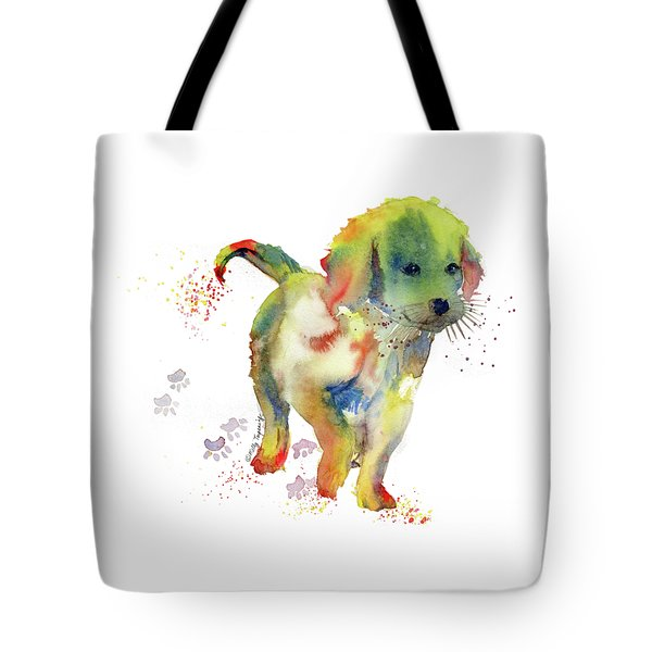 Colorful Puppy Watercolor - Little Friend Tote Bag by Melly Terpening