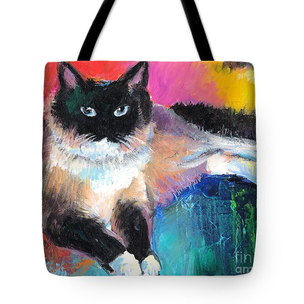 Colorful Ragdoll Cat Painting Tote Bag by Svetlana Novikova