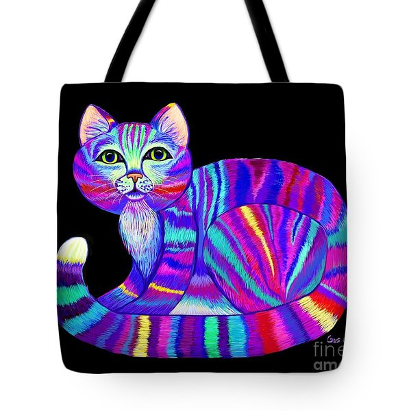 Colorful Rainbow Kitty Tote Bag