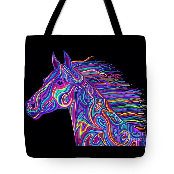 Colorful Rainbow Stallion  Tote Bag