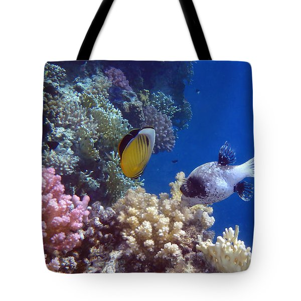 Colorful Red Sea Fish And Corals Tote Bag