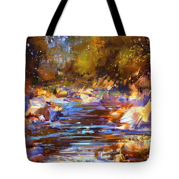 Colorful River Tote Bag