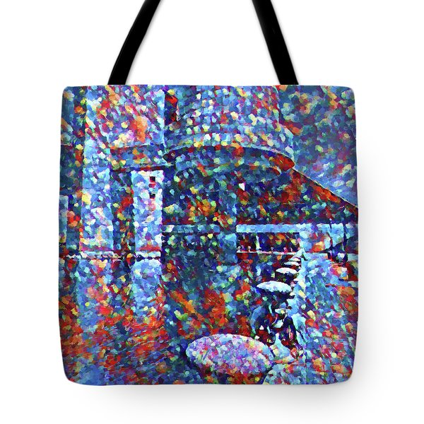 Tote Bag featuring the painting Colorful Rock And Roll Hall Of Fame Museum by Dan Sproul
