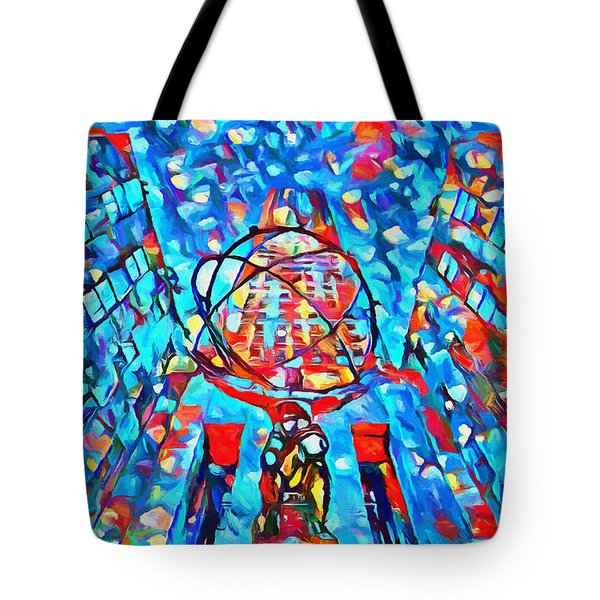 Tote Bag featuring the painting Colorful Rockefeller Center Atlas by Dan Sproul