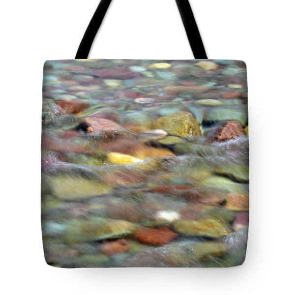 Colorful Rocks In Two Medicine River In Glacier National Park Tote Bag