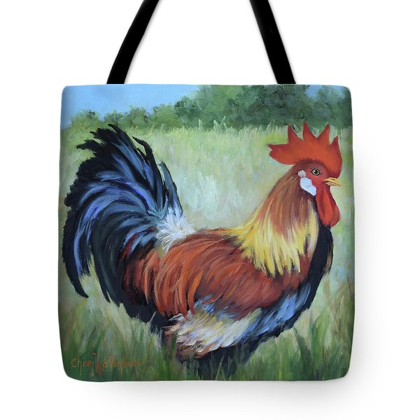 Colorful Rooster Print Tote Bag