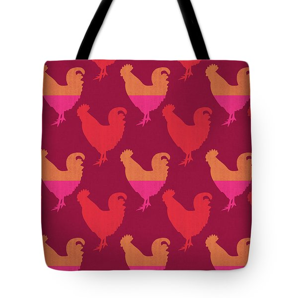 Colorful Roosters- Art By Linda Woods Tote Bag by Linda Woods