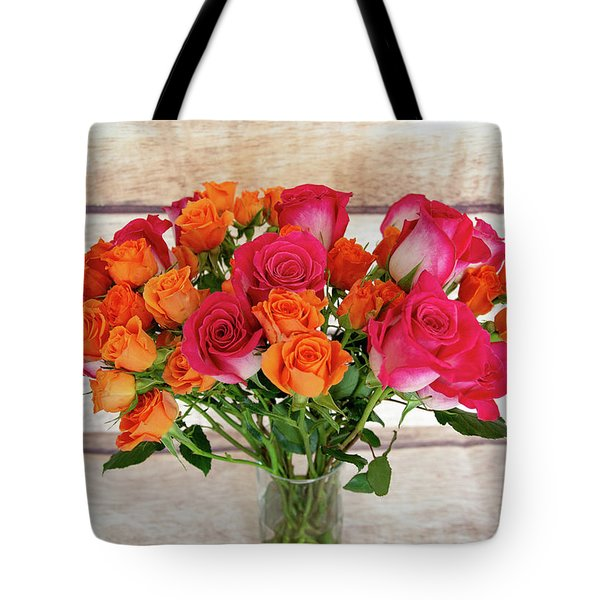 Colorful Rose Bouquet Tote Bag