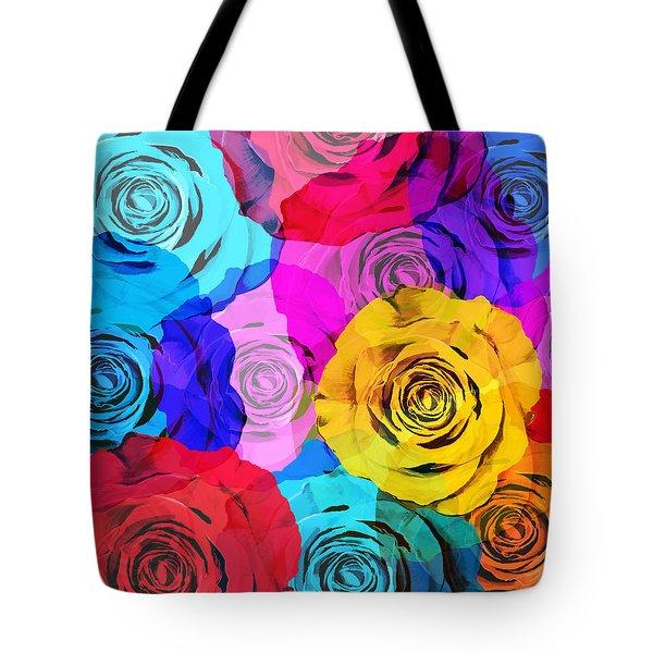 Colorful Roses Design Tote Bag by Setsiri Silapasuwanchai