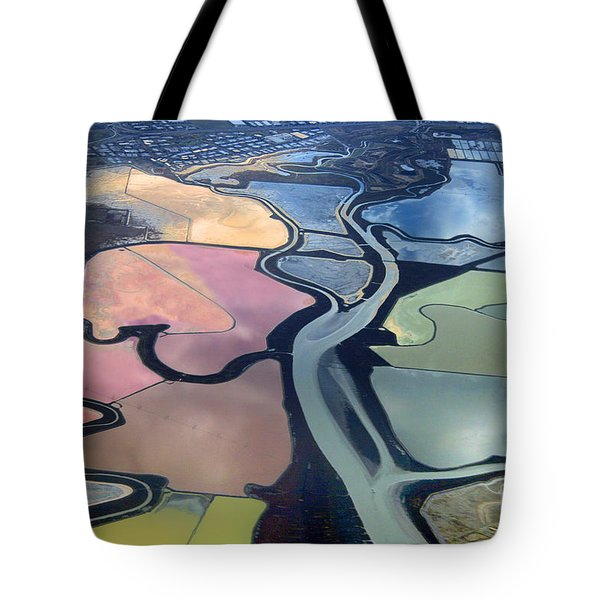 Colorful Salt Evaporation Ponds In San Franccisco Bay Area Tote Bag