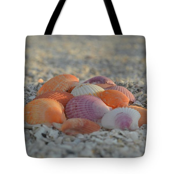 Tote Bag featuring the photograph Colorful Scallop Shells by Melanie Moraga