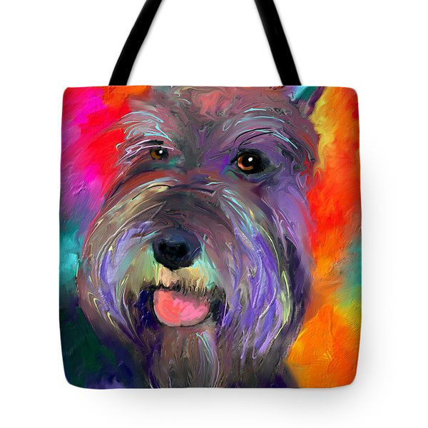 Colorful Schnauzer Dog Portrait Print Tote Bag