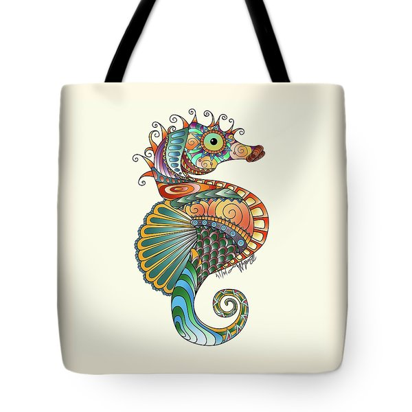Tote Bag featuring the drawing Colorful Seahorse by Becky Herrera