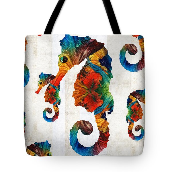 Colorful Seahorse Collage Art By Sharon Cummings Tote Bag