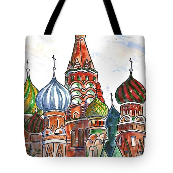 Colorful Shapes In A Red Square Tote Bag by Marsha Elliott