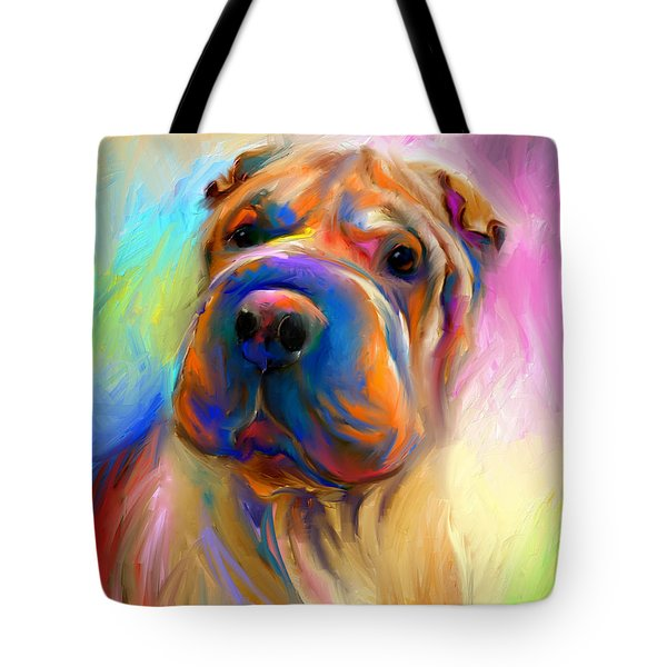 Colorful Shar Pei Dog Portrait Painting  Tote Bag