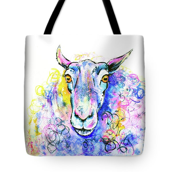 Tote Bag featuring the painting Colorful Sheep by Zaira Dzhaubaeva