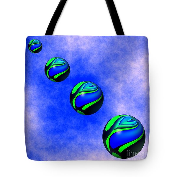 Colorful Spheres Are Floating Down From The Sky Tote Bag