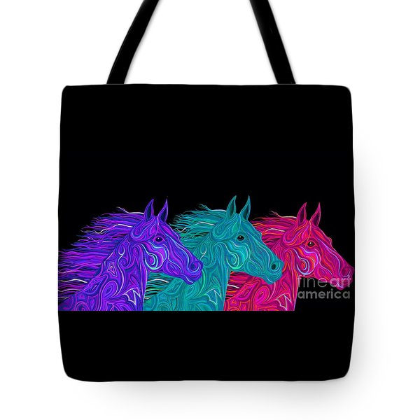 Tote Bag featuring the drawing Colorful Stallions  by Nick Gustafson