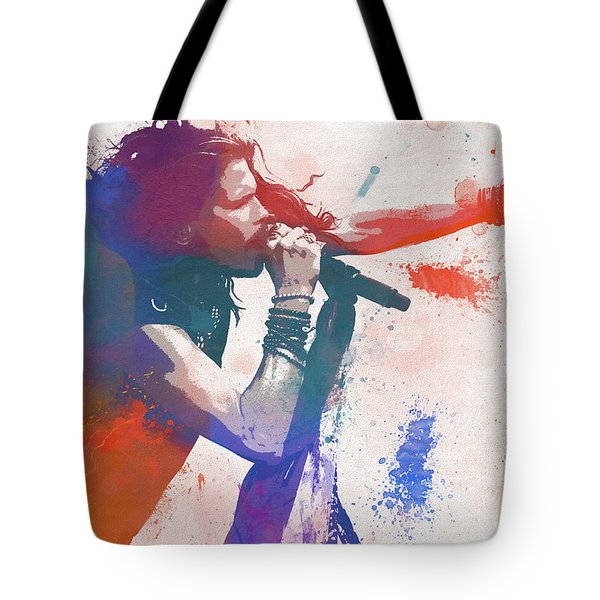 Colorful Steven Tyler Paint Splatter Tote Bag
