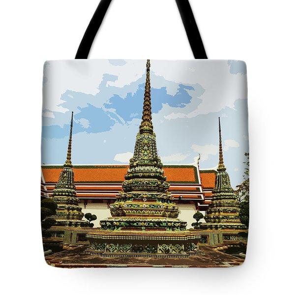 Colorful Stupas At Wat Pho Tote Bag