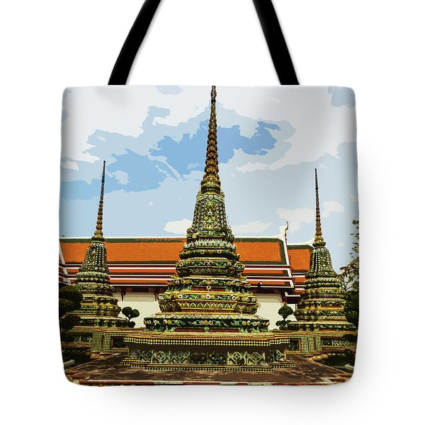 Colorful Stupas At Wat Pho Tote Bag